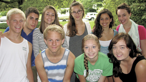 Teens from Suffolk and Oderzo, Italy, who have participated in this year's Suffolk Sister Cities cultural exchange pose for a photo. Front row from left are host brothers David Raines and Austin Raines, host Meredith Stielow and Emily Bazemore, who visited Italy. Back row from left are Italian Francesco Leschi, host Alex Barber, Italians Laura Corona and Martina Marelli, and Laura Smith, who visited Italy.