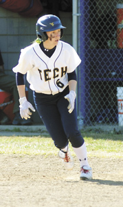 Suffolk's Megan Blythe runs the bases in one of the latter games of her phenomenal sophomore season at the West Virginia University Institute of Technology. She earned the USCAA First Team All-American honor for the second straight year. (James Holloway and Dr. Deb Beutler photo)
