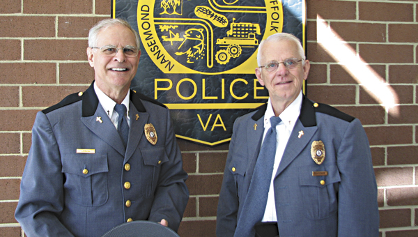 Carl LeMon, left, and Wayne Gardner are the first two chaplains in the Suffolk Police Department's newly revived chaplain program. About five more are on the way, volunteer coordinator Rick Vroman said.