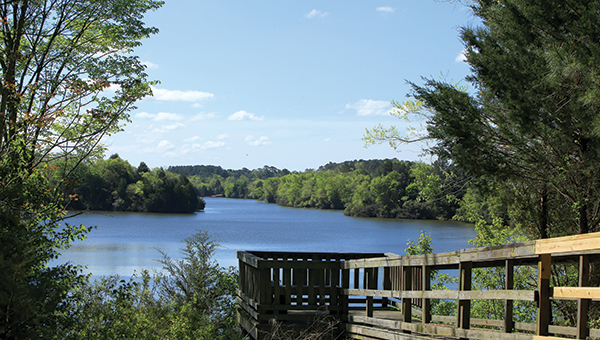 A pier at Lone Star Lakes offers breathtaking views.