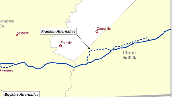 The above map shows a proposed alternative to part of the proposed route of the Atlantic Coast Pipeline. A public meeting about it is set for Wednesday in Emporia.