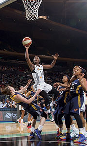 New York Liberty guard Sugar Rodgers of Suffolk has made some key contributions to her team's incredible run this season, and she will be ready to lend a hand today as New York plays in Game Two of the WNBA Playoffs Eastern Conference Semifinals in Washington D.C. Tip-off is scheduled for 1 p.m. on ESPN. (MSG Photo Services)