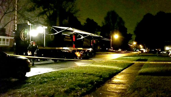 Officers work the scene of an officer-involved shooting on Causey Avenue Monday night.