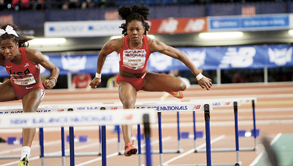 Nansemond River High School senior Brandeé Johnson competes in the girls' 60-meter hurdles during the New Balance Nationals Indoor meet in New York City over the weekend.(Mary Ann Magnant/MileSplit.com)