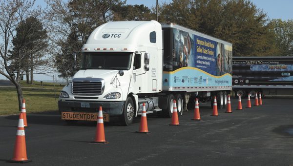 Drivers compete in a truck rodeo at the Tidewater Community College site in North Suffolk.