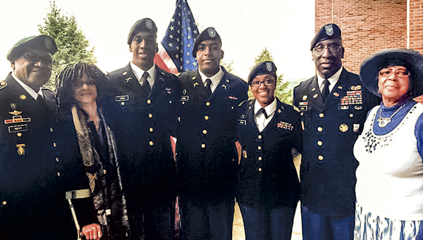 U.S. Army 2nd Lt. Cornith Cross, third from left, graduated from the U.S. Military Academy on May 21, continuing his family's history of military service. Others pictured include, from left, retired Sgt. Major Sam McKoy; Angela Cross; 2nd Lt. Geordan Cross; 1st Lt. Triada Cross; retired Col. Frederick A. Cross; and Maxine McKoy.