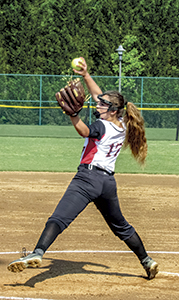Freshman pitcher Misty Even throws a fastball in a victory against Gloucester High School Thursday afternoon. The Lady Warriors won the PenSouth 10 Conference tournament.