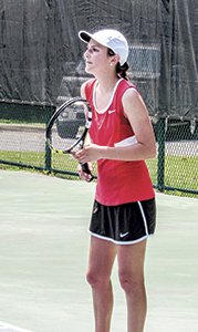 Erin Bonney helps propel Nansemond River High School's tennis team to a victory against Princess Anne High School on Friday. The Lady Warriors beat Princess Anne 5-1 in the conference semifinals, qualifying them for their first state championship tournament in school history.