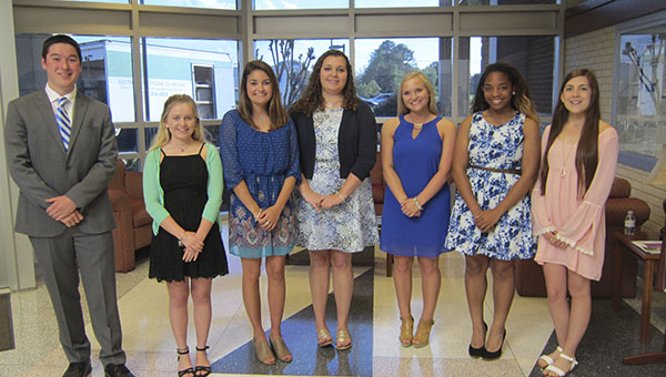 The scholarship winners from Bronco Federal Credit Union pause for a photo. From left are Zie Medrano, Ashton Headrick, Marissa Haydu, Celia Jackson, Peyton Bunn, Mina Johnson and Alexis Manson. Not pictured is Ariel Salerno.