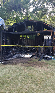 A fire destroyed this shed Friday afternoon.
