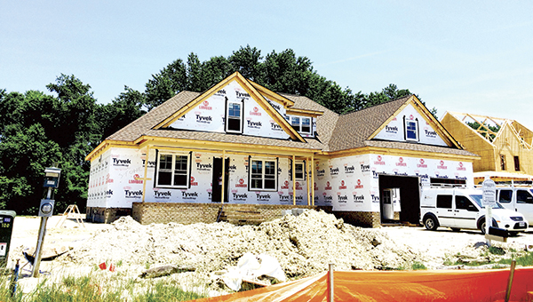 A home under construction in the Founders Pointe neighborhood in Carrollton will be part of the Parade of Homes this year, sponsored by the Peninsula Housing and Builders Association. (Mark Edwards photo)