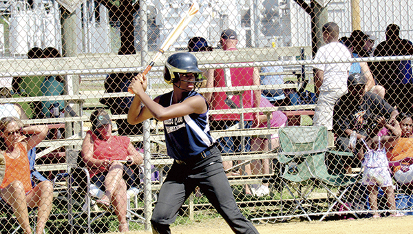 A batter for the Bennett's Creek Blue Jays prepares for the pitch during the Suffolk Youth Athletic Association's annual Softball Summer Sizzler.