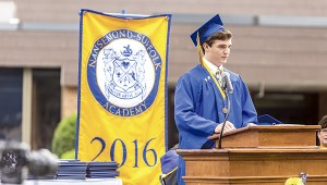 Class member Connor Christian King delivers his salutatory address during the event.
