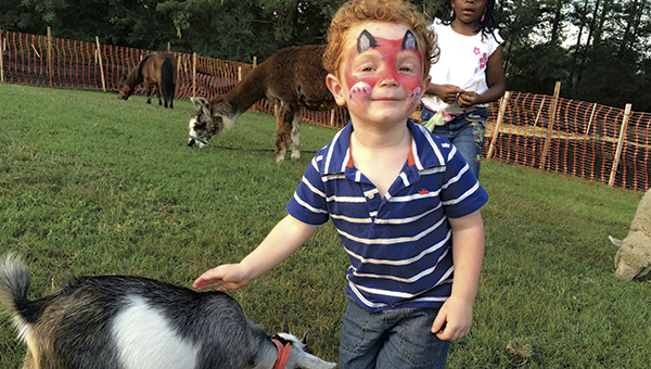 Tate Everett checks out a goat at the petting zoo at the Chuckatuck National Night Out celebration last year. Thousands of people from all over the city joined in their neighborhoods for the annual crime-fighting event.