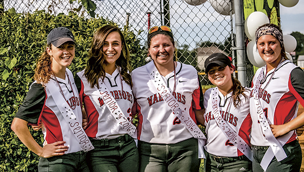 Nansemond River softball's four-year lettermen started a winning tradition in 2013 that they sustained throughout their high school careers. The girls are, from left, KateLynn Hodgkiss, Lauren Maddrey, Calah Savage, Madison McGrath and Jaclyn Mounie. (Dave Glover photo)