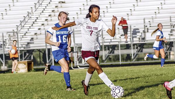 King's Fork High School's Ashley Bido controls the ball in a 3-2 victory over Smithfield High School on Tuesday evening. (Caroline LaMagna photo)