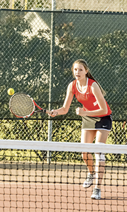 Cydney Folsom competes for the Nansemond River High School girls' tennis team earlier in the season. The team progressed to the state tournament, and two of its three losses on the season came to the two teams who will compete for the championship. (Melissa Glover photo)
