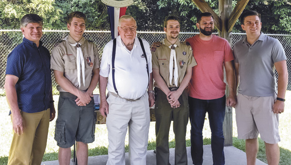 Six men in three generations of the Goodwin family have earned the Eagle Scout rank. From left are David Goodwin, his son Jordan Goodwin, his father, Clif Goodwin, and his other three sons, Josh Goodwin, Jeremy Goodwin and Jeff Goodwin. (Submitted Photo)