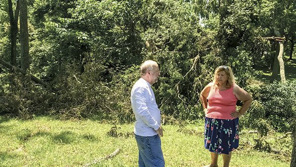 Ann Parker and Gordon Hatchell discuss the windstorm in Crittenden while standing in front of the trees it brought down.