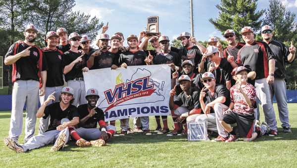 The Nansemond River High School baseball team celebrates their state championship victory over Mountain View High School on Saturday. (Wil Davis Photography)