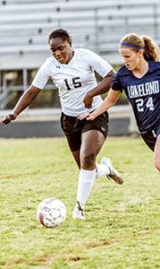 Daijah Norris, a forward for the King's Fork High School girls' soccer team, competes against Lakeland High School during a prior game. She was one of 10 team members honored with all-PenSouth conference honors.