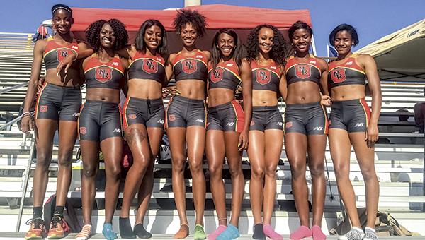Nansemond River High School's 'Team War,' which won three national track championships during the weekend, includes, from left, Asia Crocker, Morgan Towe, Dajae' Goulet, Tre'breh Scott-Mckoy, Brandeé Johnson, Syaira Richardson, Kiara Price and Kori Carter.