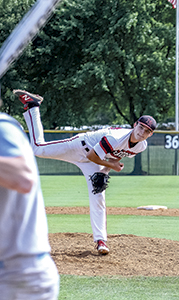 Michael Blanchard pitches in the state semifinals on Friday. Blanchard won the Duke Automotive-Suffolk News-Herald Player of the Year honor. (Wil Davis photography)