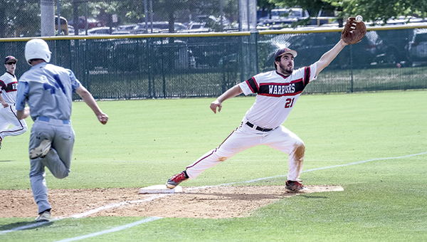 Nansemond River High School's Michael Holt catches the ball to force the runner out during Friday's state semifinal game against Potomac High School. The Warriors beat Potomac 3-1 to advance to the state championship game on Saturday.