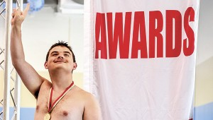 Jorden Jarratt celebrates his gold medal in the 100-meter freestyle event during the Special Olympics Virginia 2016 State Games. He also earned a bronze in the 50-meter backstroke.