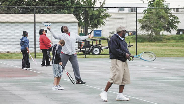 Participants in a tennis rally night polish their skills. Friday evenings are set aside for rally nights at the Howard Mast Tennis Complex behind the North Main Street Farm Fresh.
