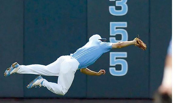 Suffolk native Tyler Ramirez makes a catch for the University of North Carolina at Chapel Hill. He recently signed to the Oakland A's. (Submitted Photo)