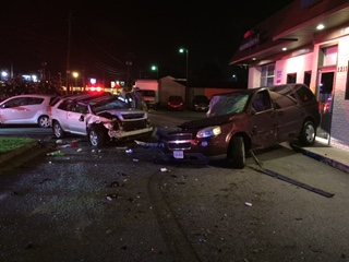 Several vehicles and a building were damaged in a crash on North Main Street early on Sunday morning.