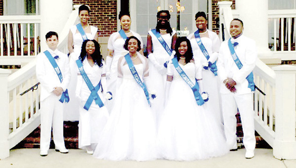 Participants in the debutante-beautillion were, front row from left: Jameson Wilkinson (Lakeland High School), Essence Frazier (Lakeland High School), Lakiaya Aponte (Lakeland High School), Sharnice Sherrod (Lakeland High School), JaQuan Yulee (Indian River High School). Back row from left: Adriana Johnson (Lloyd C. Byrd High School), Marianna Ricks (Lakeland High School), Alexis Brown (Lloyd C. Byrd High School), Breonna Penn (Lakeland High School).