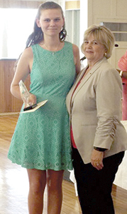 Mayor Linda T. Johnson presents Cheyenne Schmack with a Youth Achievement Award on June 7 at the Planters Club. (Submitted Photo)