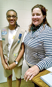 Cree Diggs-Brown, a Suffolk Girl Scout, was selected to participate on a 21-member team of Girl Scouts from 17 different Girl Scout councils in the country to help plan the 2017 Girl Scout National Convention. Cree is pictured here with Girl Scouts of the Colonial Coast CEO Tracy Keller. (Submitted Photo)