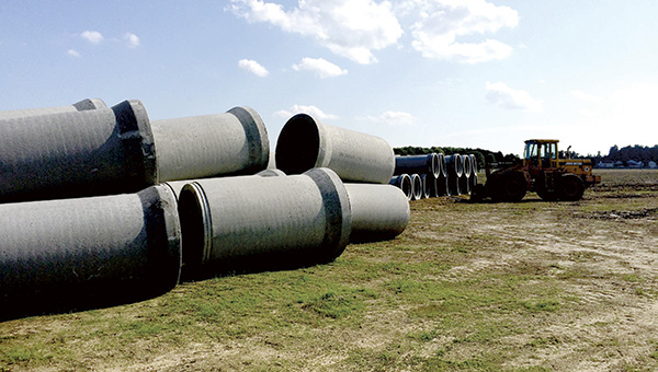 New stormwater drainage pipes wait to be installed at a future housing development off Godwin Boulevard.