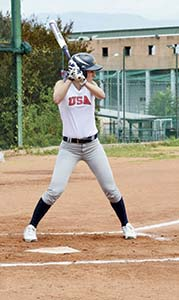 Megan Blythe of Suffolk competes in Italy as a member of a USAAI softball squad in 2015.