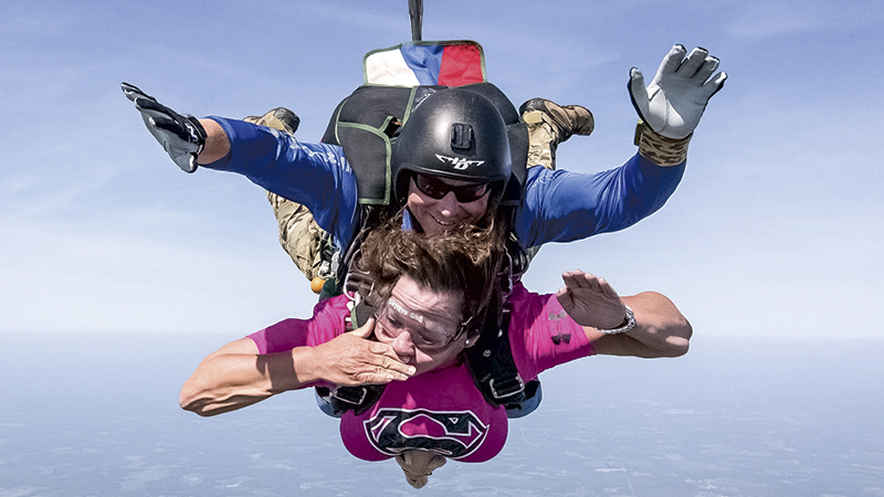 On Sunday, Beth Prever, went skydiving at Skydive Suffolk. Prever was diagnosed with amyotrophic lateral sclerosis in April. (photo by James Hatch)