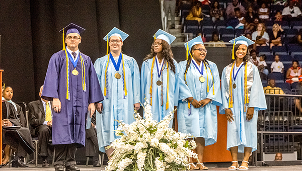 Lakeland High School had five graduating seniors this school year who also received degrees and certificates from Paul D. Camp Community College as a result of participating in the college's dual enrollment program.