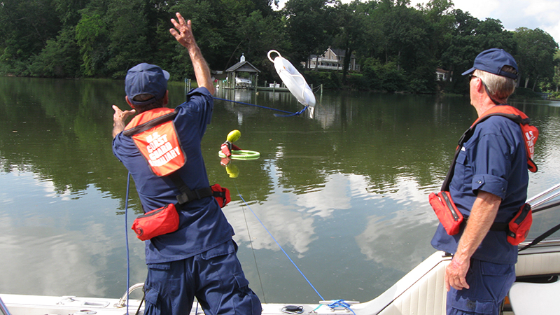 Members of Smithfield Flotilla 59 of the U.S. Coast Guard Auxiliary show off their skills in search and rescue. The flotilla recently had two teams place first and second at the U.S. Coast Guard District Five's annual search and rescue competition.