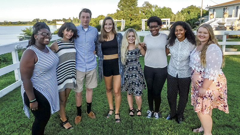 Eight students from the Suffolk Sister Cities International's summer program had the opportunity to attend the organization's annual Youth Leadership Summit or travel to Oderzo, Italy. Donielle Blake, from left, is joined by Lucrezia Cadamuro, Will Wren, Olivia Bono, Mackenzie Sheppard, Ashton Headrick, Kaitlyn Holmes and McKayla West.