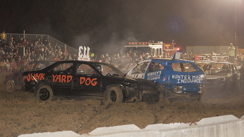 """The """"Junk Yard Dog"""" mixes it up in the demolition derby ring during a preliminary heat."""